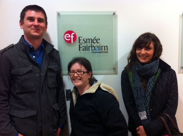 The Team - Wayne Holland (left) Ann-Marie Peckham (centre) Dayna Woolbright (right)Outside the Esmee Fairbairn Offices in London