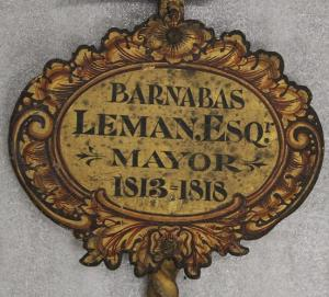 Barnabas Leman's plaque on sword rest.