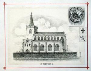 Print, 'St Gregory Church S.' by James Sillett (1764-1840), lithograph on paper, 1828
