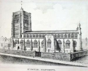 St Peter Mancroft Church, where John Patteson and his family are buried. Drawing dates to 1828.