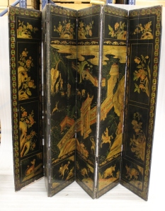 Chinoiserie screen unfolded.