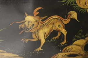 Chinoiserie screen, detail, dragon.