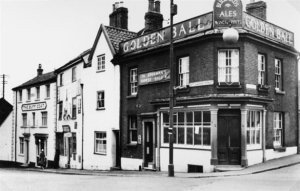 The Golden Ball Public House, Cattle Market Street, Norwich. This was a Bullards run pub that closed in 1962.