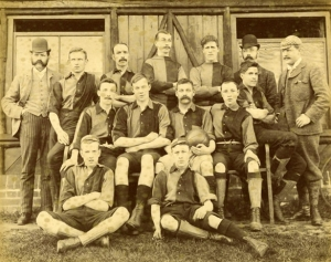 A Norwich football team photograph late 19th century. (Could not find one closer to 1908. Note that NCFC were not founded in 1902, but they did commence playing in a kit almost identical to this. Could this be an early incantation of NCFC?