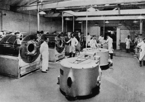 The first manual washing machine was developed as early as 1797, by the mid eighteenth century commercial steam powered machines were in use and by the turn of the 20th century even some powered by petrol, however it was not until the 1930s when most homes started to have electricity that a domestic version of a washing machine became available.