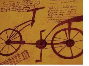 sketch of the bicycle thought to have been designed by Da Vinci