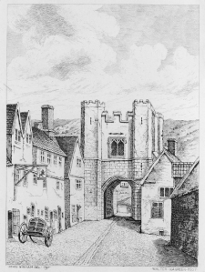 Bishopgate: Drawing by John Ninham 1791, shows Bishopgate, the hills in the distance are Mousehold Heath and show where Kett's men would have led the attack from.