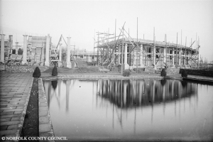 Eaton Park - Pavillion being constructed in 1924. Many of the people employed to construct these new parks were unemployed men who had returned home from the Great War and found there was no job for them.