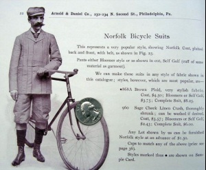 norfolk bicycle suit. Image from http://www.oldbike.eu/museum/1900s/fashion-costumes/1897-arnold-daniel-catalogue-cycling-outfits/
