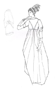 Drawing of a late 18th century dress in the NMAS collection