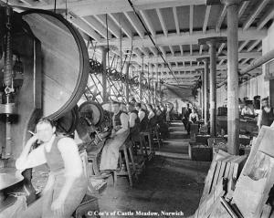 Inside Carrow Works - Die stamping tins.