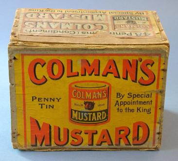 Colman's tin from our collection 1880-1900. This box would have originally contained 48 penny tins of mustard.