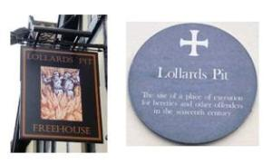 lollards pub sign and plaque