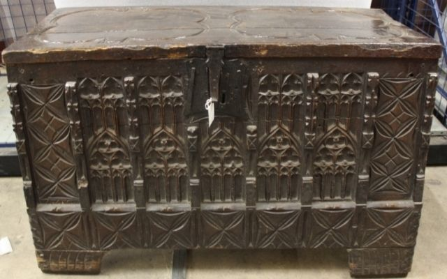 The chest at the Norfolk Collections Centre, c.1400s
