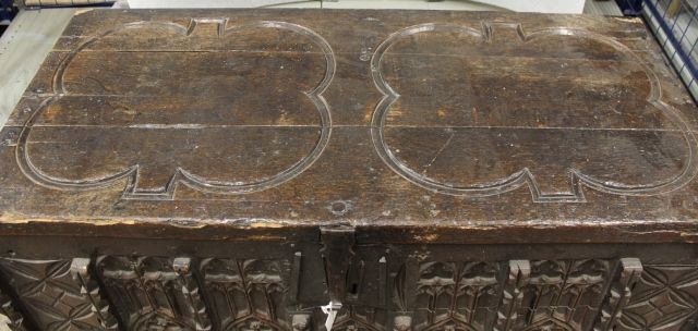 The distinctive lid of the chest in the Norfolk Collections Centre c.1400s NWHCM : L1974.29.3