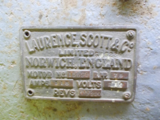 Laurence and Scott plaque attached to the motor.