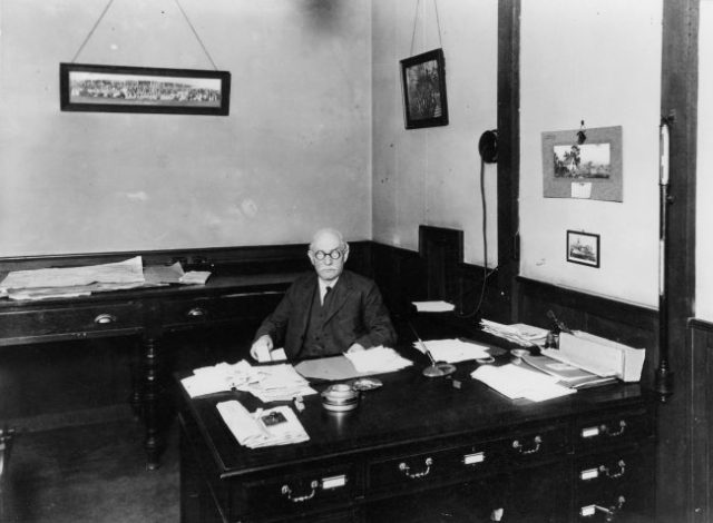 Scott is his office (date unknown).