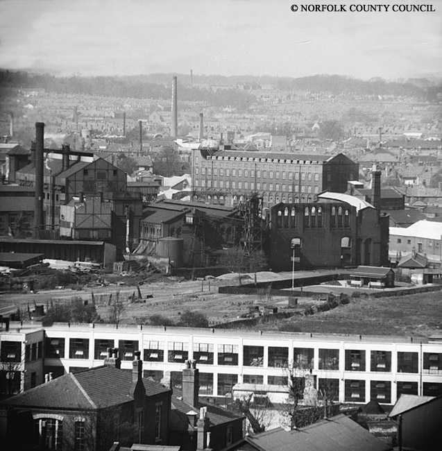Jarrolds printing factory in 1951, notice how many chimneys there are in the background.