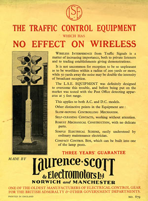 An advert for the Laurence and Scott traffic control equipment, among its boasts are that it does not interfere with wireless reception.